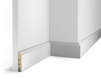 Floor skirting board, white, 80x16x2400 mm, MDF, with the slots, AP 7