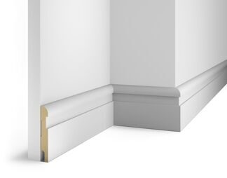 Paintable floor skirting board, white AP29, notched for 20 molding, 102x16x2400 мм, MDF, with the slots