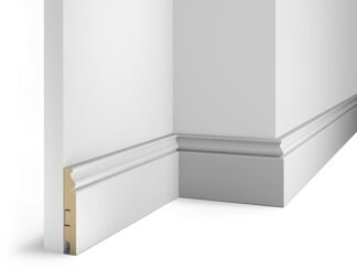 Floor skirting board, white, 100x16x2400 mm, MDF, with the slots, AP10