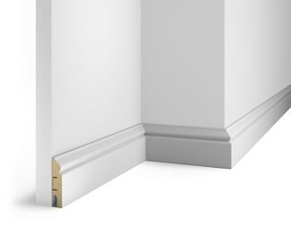 Floor skirting board, white, 70x16x2400 mm, MDF, with the slots, AP5