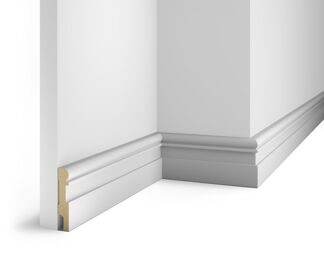 Paintable floor skirting board, white AP28, notched for 20 molding, 80x16x2400 мм, MDF, with the slots