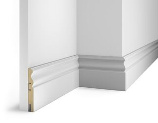 Floor skirting board, white, 115x16x2400 mm, MDF, with the slots, AP 14
