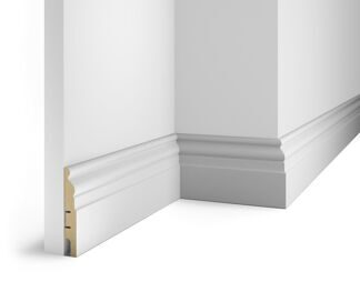 Floor skirting board, white, 102x16x2400 mm, MDF, with the slots, AP 18