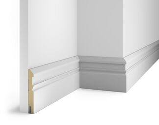 Paintable floor skirting board, white AP30, notched for 20 molding, 115x16x2400 мм, MDF, with the slots