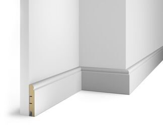 Floor skirting board, white, 80x16x2400 mm, MDF, with the slots, AP 9