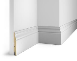 Floor skirting board, white, 125x16x2400 mm, MDF, with the slots, AP 20